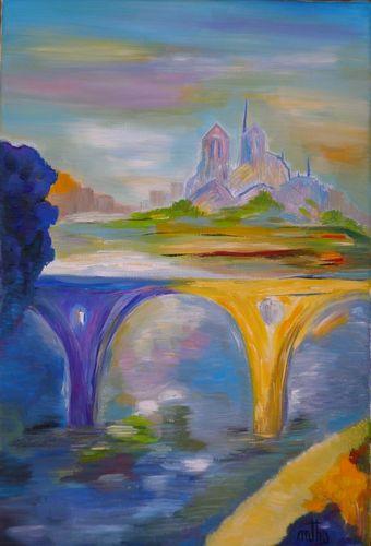 Par delà le pont - Huile sur toile - 22x33 - Marithé