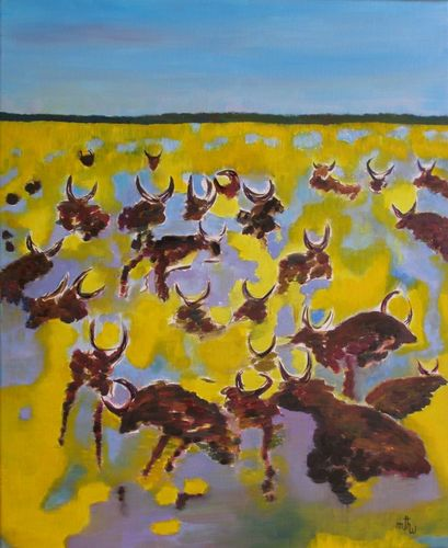 Manade dans les herbes - Huile sur toile - 61x50 - Marithé