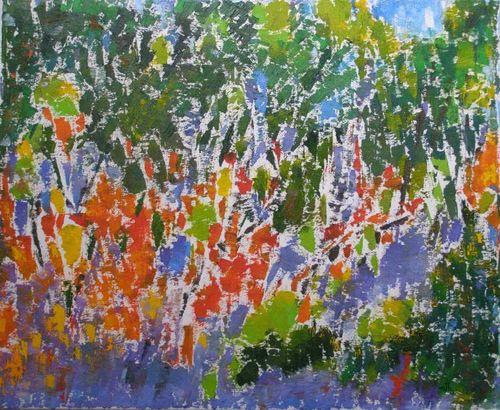 Forêt tropicale - Huile et sable sur toile - 61x50 - * Marithé *