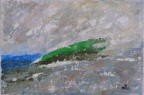 Magie du Mascaret - Huile et sable sur toile - 33x22 - Marithé