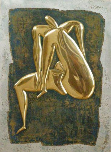 Didier Delitte - Homme nu assis - Sculpture plane - 55 x 75