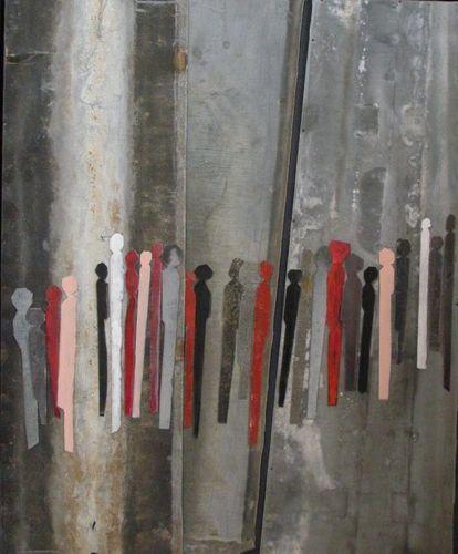 Guy Leplat - Rencontre et mouvement - Technique mixte - Zinc ... - 66 x 79