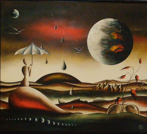Martine Hénoch - Un monde étrange N° 5 - Huile - 80 x 70