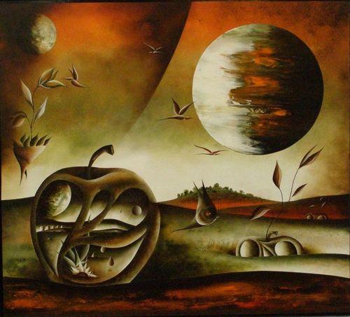 Martine Hénoch - Un monde étrange N° 6 - Huile - 80 x 70