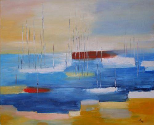 Bateaux au port - Huile sur toile - 61x50 - Marithé