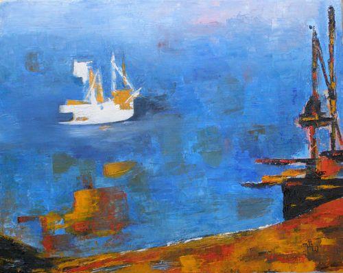 Le port - Huile sur toile - 50x40 - Marithé