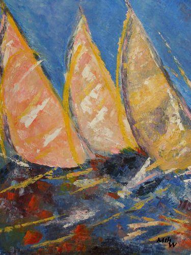 Régates - Huile sur toile - 50x61 - Marithé