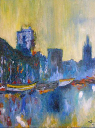 Port de La Rochelle - pour Eric - Huile sur toile - 61x50 - Marithé