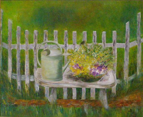 """"""" Au jardin """" ... Huile sur toile ... 61x50 ... Marithé"""
