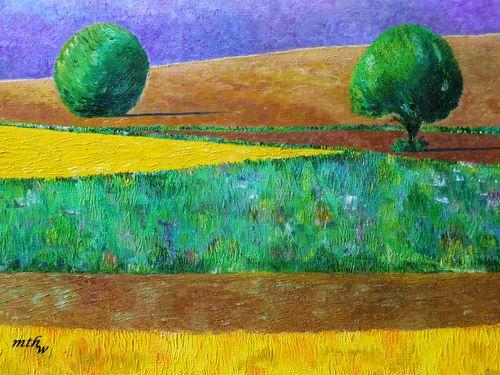 Arbres et champs en Lubéron - Huile sur toile - 46x38 - Marithé
