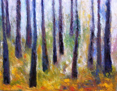 Séquoias en septembre à Yosémite Park - Huile sur toile - 55x46 - Marithé