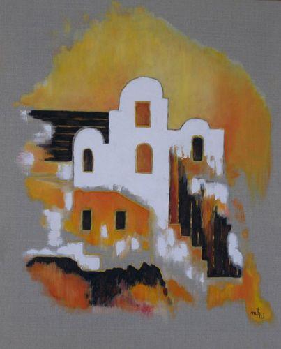 Ghorfa Sud Tunisien - Huile sur toile, lin naturel - 55x46 - Marithé