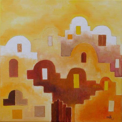 Greniers Tunisie - Huile sur toile - 40x40 - Marithé