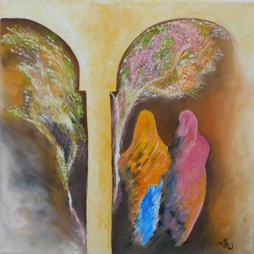 Jardin aux jasmins - Huile sur toile - 40x40 - Marithé