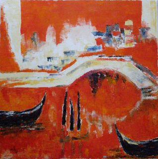 Venise la Romantique - Huile sur toile - 50 x 50 ... Marithé