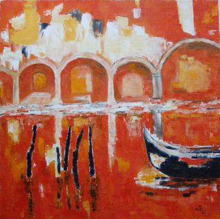 Venise la  Sérénissime - Huile sur toile - 50 x 50 - Marithé
